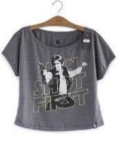 Camiseta Star Wars Han Shot First Feminina - Tam P - Studio Geek