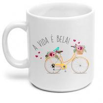 Caneca Bicicleta Bike a vida e Bela - Branco - Único - Gorila Clube