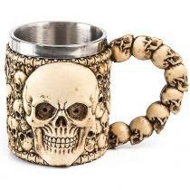Caneca Caveira Esqueleto Creme - Versare anos dourados