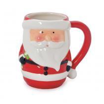 Caneca Chá Café Papai Noel Natal Cerâmica Vermelha - Cromus