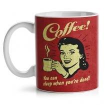 Caneca Coffee You can Sleep When you are Dead Café Vintage - Vermelho - Único - Gorila Clube