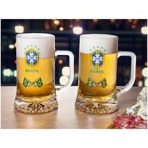 Canecas de Chopp/Cerveja de Vidro 500ml - Globimport Clubes Brasão CBF 2 Peças