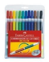 Caneta Hidrog Bicolor 12 Canetas 24 Cores 15.0612p Faber - 1