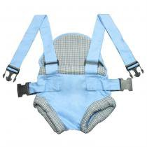Canguru Bebê Passeio Azul com Xadrez - Laura Baby