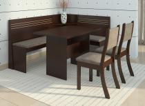 Canto Alemão com 2 Cadeiras Scan Siena Móveis Choco/Canela - Siena Móveis