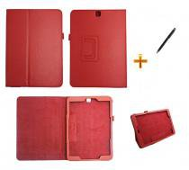 Capa Case Galaxy Tab S2 - 9.7 T810/T815 Carteira / Caneta Touch (Vermelho) - BD Net Imports