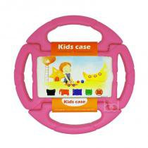 "Capa Case Protetor Infantil Anti-Choque ""Volante"" Galaxy Tab 4 T230 7"" BD NET (Rosa) - BD Net Imports"