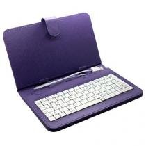 Capa com teclado para tablet 7 polegadas roxa - Importado