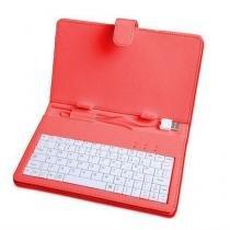 Capa com teclado para tablet 7 polegadas vermelho - Importado