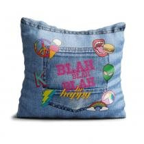 Capa de Almofada 45x45 cm Be Happy - Azul - Kathavento Presentes