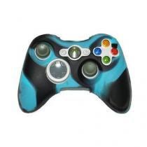 Capa de silicone para controle joystick xbox 360 azul e preto - Importado