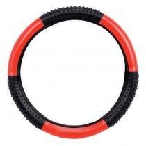 Capa de volante gol 00/08 37 cm preta/vermelha com massageador - Novat