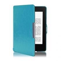 Capa Kindle 8a Geração WB Auto Liga/Desliga - Couro Premium Azul Turquesa -