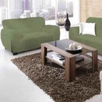Capa sofá malha dupla 2 e 3 lug verde royal - Jersey bras
