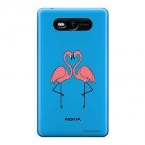 Capa Transparente Personalizada para Nokia Lumia N820 Casal Flamingos - TP316 - Nokia