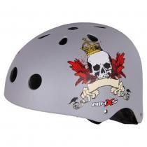 Capacete Bike Skate Kripta Caveira Prata -