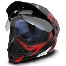 Capacete Motocross EBF Super Motard Iron Preto e Vermelho - Ebf capacetes