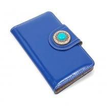 Capinha Carteira de Couro Nava Verniz Azul Para Celular LG K10 2017 M250 - Verniz Azul - Cellway