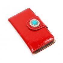 Capinha Carteira de Couro Nava Verniz Vermelho Para Celular LG K10 K430 - Verniz Vermelho - Cellway