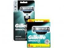 Carga para Aparelho de Barbear Gillette Mach3 - 8 Unidades + Aparelho de Barbear Gillette Mach3