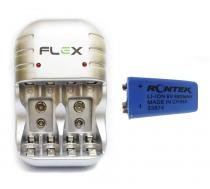 Carregador Com 1 Bateria de Litio Recarregáveis 680mAh 9v Potente Microfone Violão FX C03 - Rontek