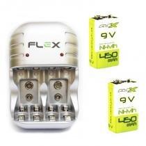 Carregador com 2 Baterias 9v Recarregáveis 450mah Nimh Microfone Violão - Flex