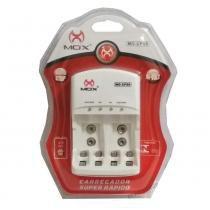 Carregador de Pilhas AA ou AAA e Baterias 9v Com Desligamento Automático e Led MO CP50 - Mox