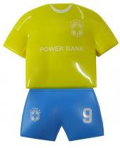Carregador Portatil Para Celular Bateria Portatil com 2 Entradas Usb para Emergencia Futebol Amarelo e Azul - Chang Hong