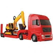 Carreta Diamond Truck Escavadeira - Roma Brinquedos