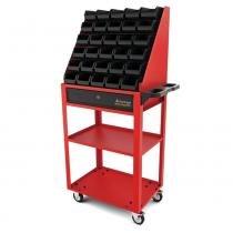 Carrinho aberto com 30 gavetas plásticas n3 vermelho - Tramontina pro