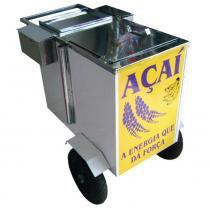 Carrinho de açaí confeccionado parcialmente em aço inox com caixa térmica e guarda-sol cod 965 - r2 -