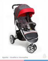 Carrinho De Bebê 3 Rodas Apollo Grafite com Vermelho - Galzerano