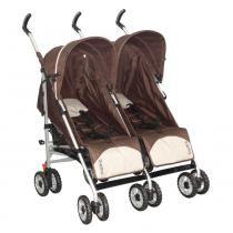 Carrinho de Bebê Alumínio Gêmeos Lateral - Duetto Burigotto 4 Posições Marrom - Burigottoo