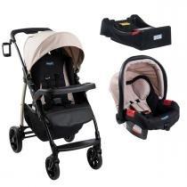 Carrinho de Bebê Burigotto Módulo e Bebê Conforto com Base - Capuccino - Burigotto