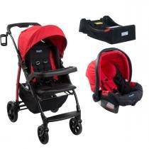 Carrinho de Bebê Burigotto Módulo e Bebê Conforto com Base - Red -