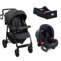 Carrinho de Bebê Burigotto Primus K e Bebê Conforto com Base - Denim -