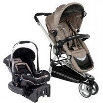 Carrinho de Bebê com Bebê Conforto Kiddo Compass II Caracol com Base - Capuccino -