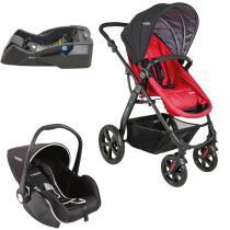 Carrinho de Bebê e Bebê Conforto Kiddo Galaxy Casulo Click com Base - Vermelho - Kiddo