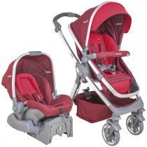 Carrinho de Bebê e Bebê Conforto Kiddo Moon Caracol com Base - Melange Vermelho - Kiddo