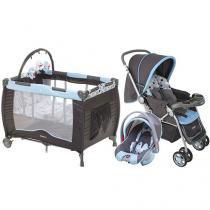 Carrinho de Bebê e Berço Passeio Cosco Travel - System Reverse + Berço Portátil Cosco Toybar