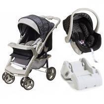 Carrinho de Bebê Galzerano Optimus e Bebê Conforto Cocoon com Base - Preto Cinza - Galzerano
