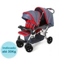 Carrinho de Bebê para Gêmeos Galzerano Doppio - Jeans -