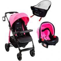 Carrinho de Bebê Passeio Burigotto Travel System - Pramette Reclinável com Bebê Conforto e Ninho