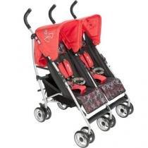 Carrinho de Bebê Passeio para Gêmeos Safety 1st - Double Alfa Red Reclinável para Crianças até 15Kg