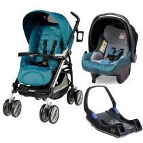 Carrinho de Bebê Peg Pérego Pliko P3 Compact e Primo Viaggio Sl com Base - Oceano - Peg Pérego