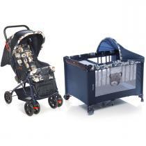 Carrinho de Bebê Voyage Funny e Berço Portátil Funny - Azul -