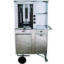 Carrinho de churrasco grego total inox com baú de mantimentos, vitrine e gaveta cod 66433 - r2 -