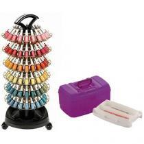 Carrinho de Esmaltes para Salão de Beleza - para 120 unidades Dompel Smaltbell Style + Maleta