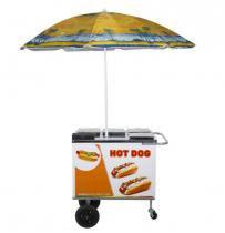 Carrinho de Hot Dog, Lanches e Cachorro Quente CH1 com Guarda-Sol Alsa -