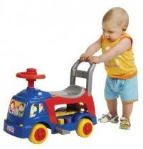 Carrinho de Passeio e Andador Infantil 4 em 1 Azul Magic Toys -